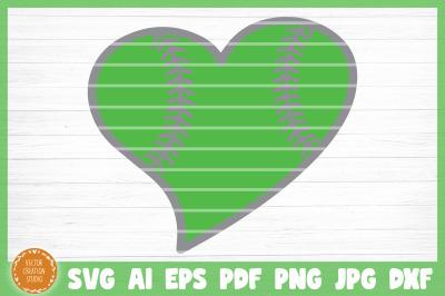 Softball Heart SVG Cut File