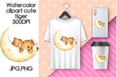 Watercolor Clipart Cute Tiger. Sublimation sleep tiger cub