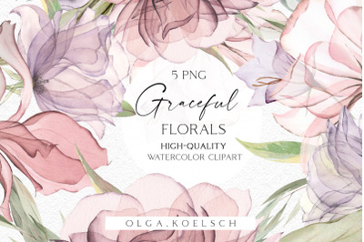 Boho roses bouquets clipart, Dusty pink watercolor floral borders png,