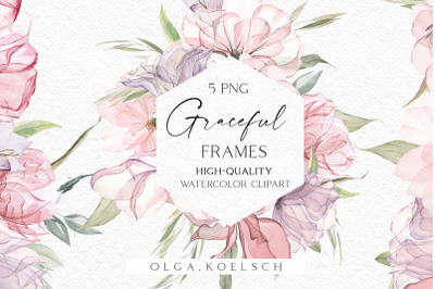 Boho rose frames clipart, Dusty pink watercolor floral borders png