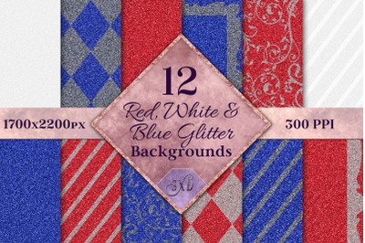 Red, White and Blue Glitter Backgrounds - 12 Image Textures