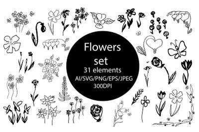Flowers set SVG.