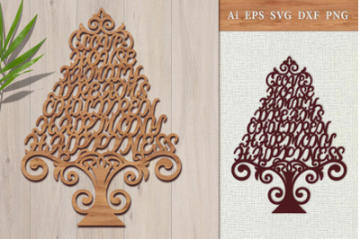 Carved tree of the word of wishes. SVG.