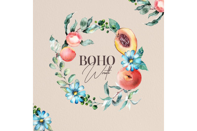 Watercolor boho wreath composition-Peach and flawers-Watercolor Fruit