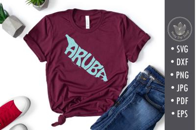 Aruba Word Art in island shape, svg, png, cut file, Shirt overlay, Typ
