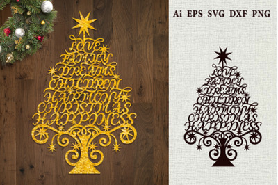 Christmas tree of the words of wishes. SVG.