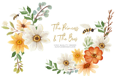 Daisies & Bee Arrangement clipart, Bees clipart watercolor, Sunflower