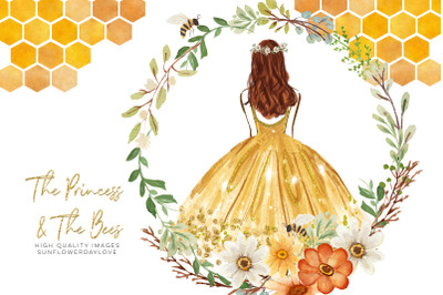 The Princess and The Bees, Daisies and Bee , Daisies & Bee watercolor