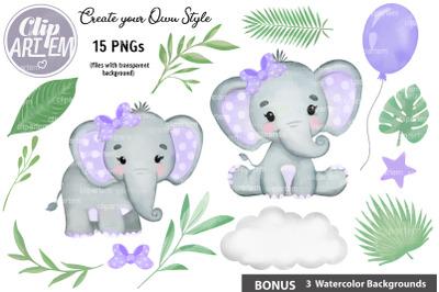 Cute Purple Girl Elephant Greenery Clip Art 15 PNG Bundle