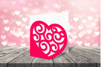 Heart with Swirls Layered Papercut Card   SVG   PNG   DXF   EPS