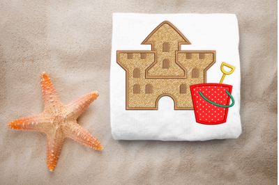 Sand Castle with Bucket   Applique Embroidery
