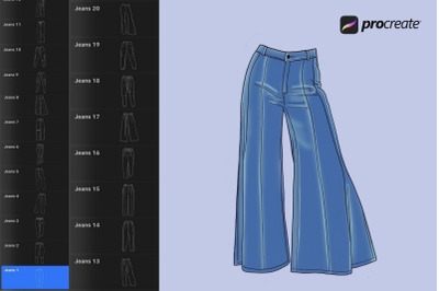 Jeans and Pants Procreate Stamps