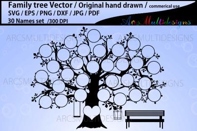 30 spots family tree vector