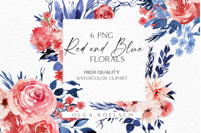 Watercolor red floral clipart, Boho blue flowers clipart, Hand painted
