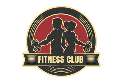 Fitness club logo with exercising athletic man and woman