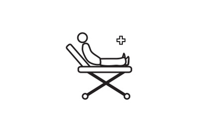 Medical Icon Black Line with Patient Clinic