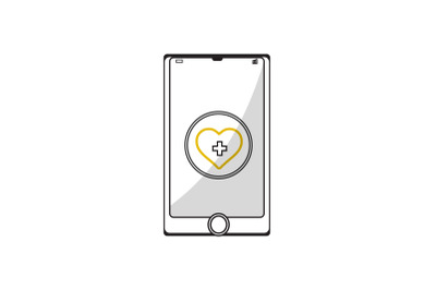 Medical Icon with Mobile Mockup Heart Care