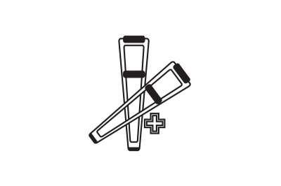 Medical Icon Black Line with Two Crutches