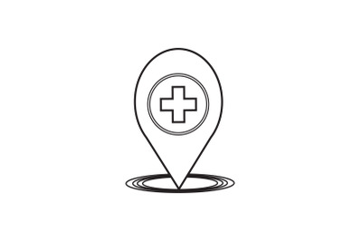 Medical Icon Black Line with Healthy Location
