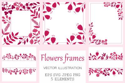 Flowers frame. Flowers card. Flowers invitation. Flowers SVG
