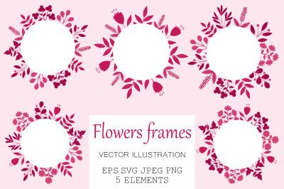 Flowers frame. Flowers design. Flowers SVG. Flowers postcard