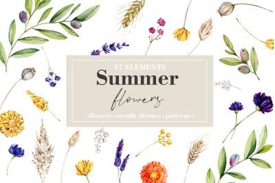 -50% SALE Watercolor Summer Flowers