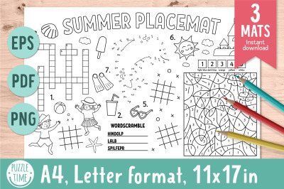 Summer activity placemats