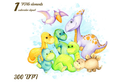 watercolor dinosaur clipart. Watercolour animals PNG clip art. Baby in