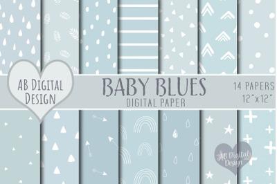 Baby Blue Digital Paper, Baby Boy, Pastel Blue, Baby Shower, Scrapbook