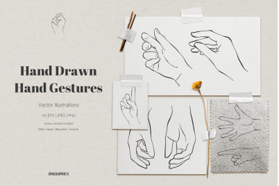 Hand Drawn Hand Gestures Vector Illustrations