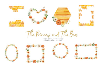 Honey Bee flowers, watercolor Frame Clipart, Greeting Cards