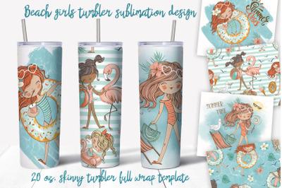 Beach girls tumbler sublimation design. 20 oz. skinny tumbler