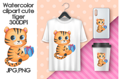 Watercolor Clipart Cute Tiger. Sublimation animals.Birthday gift