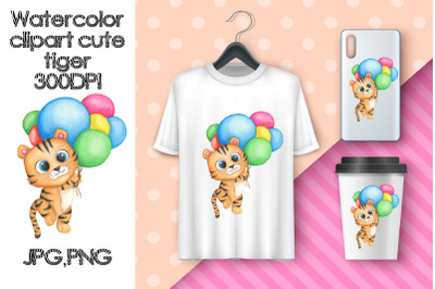 Watercolor Clipart Cute Tiger. Sublimation animals.Ballons