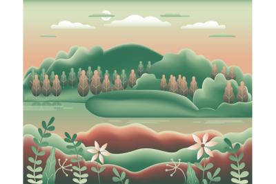 Hills landscape in flat style design. Beautiful field&2C; meadow&2C; mountai