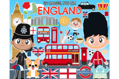 England Clipart - Lime and Kiwi Designs