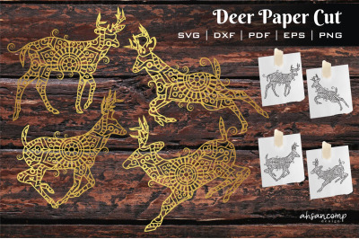 Deer Paper Cut, Vector illustration. Template For Cutting