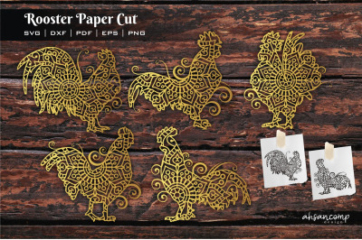 Rooster Paper Cut, Vector illustration. Template For Cutting