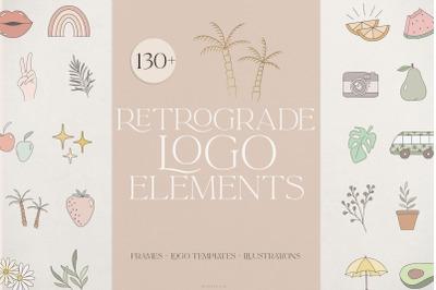 Retro logo elements, frames & templates