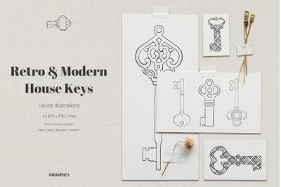 Retro and Modern House Keys Vector Illustrations