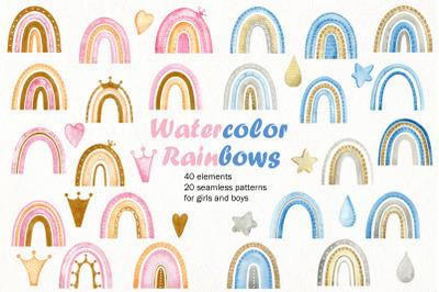 Watercolor rainbows. Kit.