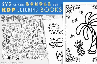 SVG clipart bundle for KDP coloring books.