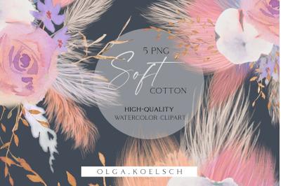 Cotton clip art, Pampas grass clipart,Dusty pink watercolor cotton png