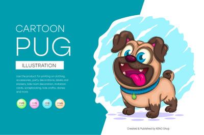 Cute cartoon pug, cute clipart, animal.