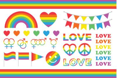 Rainbow Love & Pride Clip Art Set