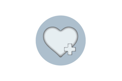 Medical Icon Papercut with Heart Health