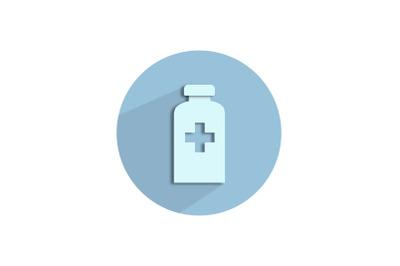 Medical Icon Papercut with Povidone Iodine Bottle