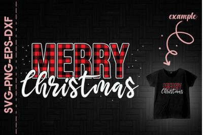 Merry Christmas Red Plaid Christmas Day
