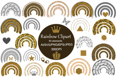 Rainbow & Shapes SVG.