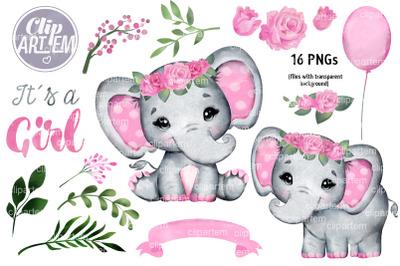 Pink Floral Girl Elephant  Baby Shower 16 PNG images set